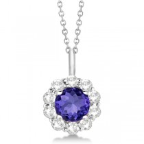Halo Diamond and Tanzanite Lady Di Pendant Necklace 18k White Gold (1.69ct)