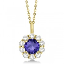 Halo Diamond and Tanzanite Lady Di Pendant Necklace 18k Yellow Gold (1.69ct)