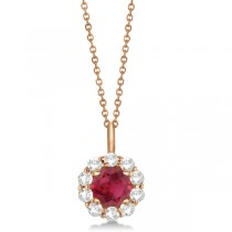 Halo Diamond and Ruby Pendant Necklace 14K Rose Gold (1.69ct)