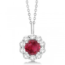 Halo Diamond and Ruby Pendant Necklace 14K White Gold (1.69ct)