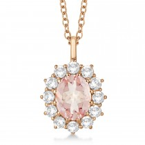 Oval Morganite and Diamond Pendant Necklace 14k Rose Gold (3.60ctw)