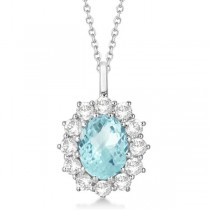 Oval Aquamarine & Diamond Pendant Necklace 14k white Gold (3.60ctw)
