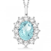 Oval Aquamarine & Diamond Pendant Necklace 14k white Gold (3.60ctw)