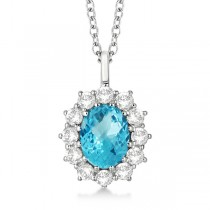 Oval Blue Topaz & Diamond Pendant Necklace 14k White Gold (3.60ctw)