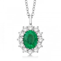 Oval Emerald and Diamond Pendant Necklace 14k White Gold (3.60ctw)