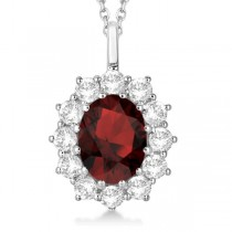 Oval Garnet and Diamond Pendant Necklace 14k White Gold (3.60ctw)