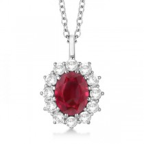 Oval Ruby & Diamond Pendant Necklace 18k White Gold (3.60ctw)