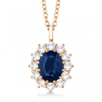 Oval Blue Sapphire & Diamond Pendant Necklace 14k Rose Gold (3.60ctw)