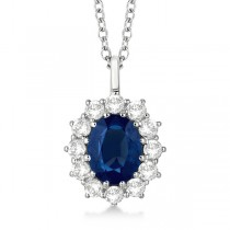 Oval Blue Sapphire & Diamond Pendant Necklace 18k White Gold (3.60ctw)