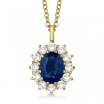 Oval Blue Sapphire & Diamond Pendant Necklace 18k Yellow Gold (3.60ctw)