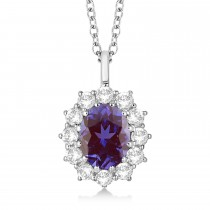 Oval Lab Alexandrite and Diamond Pendant Necklace 14k White Gold (3.60ctw)
