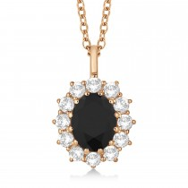 Oval Black & White Diamond Pendant Necklace 18k Rose Gold (2.80ctw)