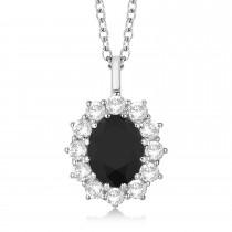 Oval Black & White Diamond Pendant Necklace 18k White Gold (2.80ctw)
