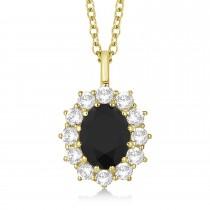 Oval Black & White Diamond Pendant Necklace 18k Yellow Gold (2.80ctw)