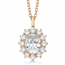 Oval Moissanite and Diamond Pendant Necklace 14k Rose Gold (3.60ctw)