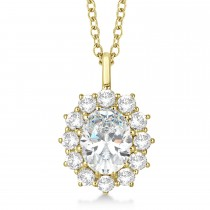 Oval Moissanite and Diamond Pendant Necklace 14k Yellow Gold (3.60ctw)