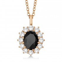 Oval Onyx and Diamond Pendant Necklace 14k Yellow Gold (3.60ctw)