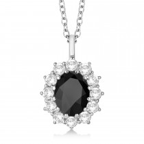 Oval Onyx and Diamond Pendant Necklace 14k White Gold (3.60ctw)