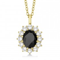 Oval Onyx and Diamond Pendant Necklace 14k Rose Gold (3.60ctw)