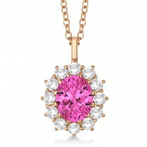 Oval Pink Tourmaline & Diamond Lady Di Pendant 14k Rose Gold (3.60ctw)