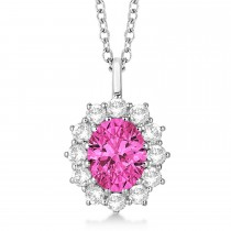 Oval Pink Tourmaline & Diamond Lady Di Pendant 14k White Gold (3.60ctw)