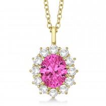 Oval Pink Tourmaline & Diamond Lady Di Pendant 14k Yellow Gold (3.60ctw)