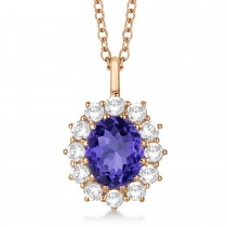 Oval Tanzanite & Diamond Lady Di Pendant 14k Rose Gold (3.60ctw)