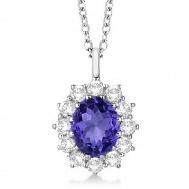 Oval Tanzanite & Diamond Lady Di Pendant 14k White Gold (3.60ctw)
