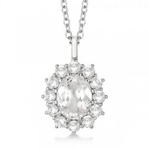 Oval White Topaz & Diamond Pendant Necklace 14k White Gold (3.60ct)