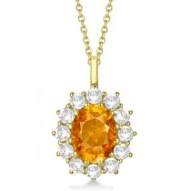 Oval Citrine and Diamond Pendant Necklace 14k Yellow Gold (3.60ctw)