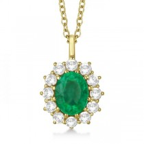Oval Emerald and Diamond Pendant Necklace 14k Yellow Gold (3.60ctw)