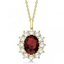Oval Garnet and Diamond Pendant Necklace 14k Yellow Gold (3.60ctw)