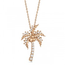 Diamond Palm Tree Pendant Necklace 14K Rose Gold (0.37ct)|escape
