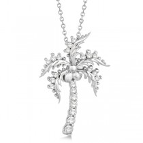 Diamond Palm Tree Pendant Necklace 14K White Gold (0.37ct)