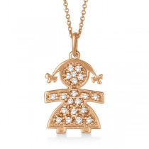 Pave-Set Diamond Girl Shape Pendant Necklace 14K Rose Gold (0.15ct)
