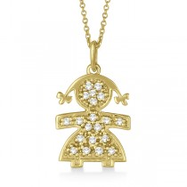 Pave-Set Diamond Girl Shape Pendant Necklace 14K Yellow Gold (0.15ct)