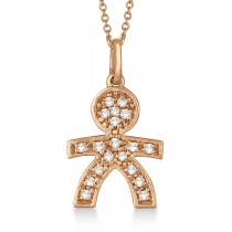 Pave-Set Diamond Boy Shape Pendant Necklace 14K Rose Gold (0.15ct)