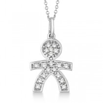 Pave-Set Diamond Boy Shape Pendant Necklace 14K White Gold (0.15ct)