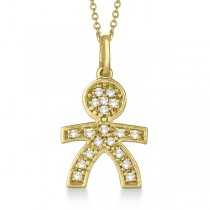 Pave-Set Diamond Boy Shape Pendant Necklace 14K Yellow Gold (0.15ct)