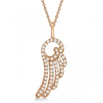 Diamond Angel Wing Pendant Necklace 14k Rose Gold (0.28ct)
