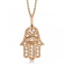 Diamond Hamsa Pendant Necklace 18k Rose Gold (0.16ct)