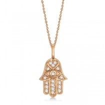 Diamond Hamsa Pendant Necklace 18k Rose Gold (0.16ct)|escape
