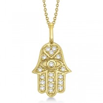 Diamond Hamsa Pendant Necklace 18k Yellow Gold (0.16ct)