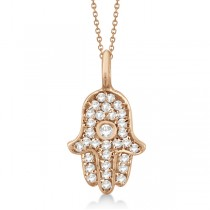 Diamond Hamsa Hand Pendant Necklace 14K Rose Gold (0.17ct)
