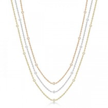 Three-Strand Diamond Station Necklace in 14k Three-Tone Gold (3.01ct)