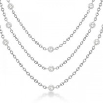 Three-Strand Diamond Station Necklace in 14k White Gold (3.01ct)