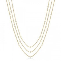 Three-Strand Diamond Station Necklace in 14k Yellow Gold (3.01ct)
