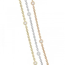Three-Strand Diamond Station Necklace in 14k Three-Tone Gold (4.50ct)