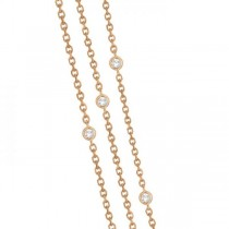 Three-Strand Diamond Station Necklace in 14k Rose Gold (4.50ct)