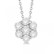 Cluster Diamond Flower Pendant Necklace 14K White Gold (0.50ct)